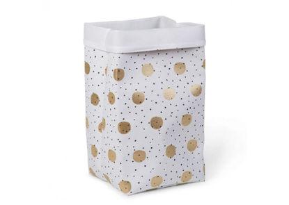Εικόνα της Κουτί Αποθήκευσης Κανβάς White Gold Dots