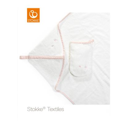 Εικόνα της Stokke hooded towel πετσέτα με κουκούλα pink bee organic cotton