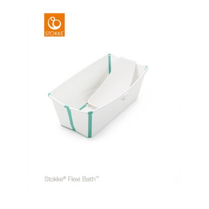 Εικόνα της Stokke Flexi Bath Bundle με βάση νεογέννητου και θερμοευαίσθητη βαλβίδα White Aqua