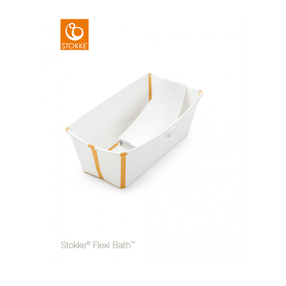 Εικόνα της Stokke Flexi Bath με βάση για νεογέννητο και θερμοευαίσθητη βαλβίδα white yelllow