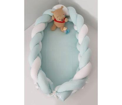Εικόνα της Baby Oliver Φωλιά με Αποσπώμενη Πλεξούδα Λευκή - Μέντα 200x16 cm