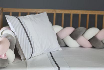 Εικόνα της Nany (Πλεξούδα Πάντα) White-Pink-Grey 140×18