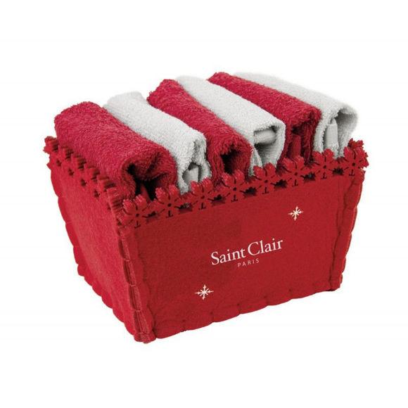 Εικόνα της Σετ Λαβέτες 6 Τεμαχίων Saint Clair Guest Christmas Γκρι Κόκκινο