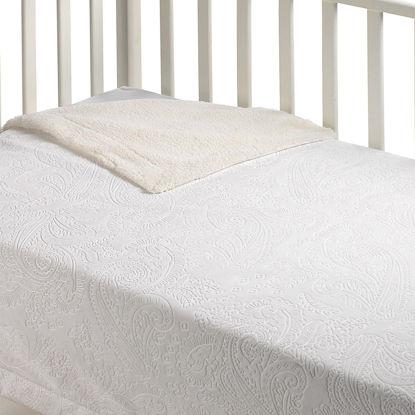 Εικόνα της Κουβέρτα Fleece Αγκαλιάς Με Γουνάκι  Λευκό