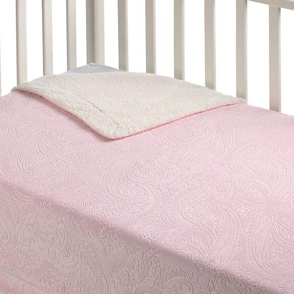 Εικόνα της Κουβέρτα Fleece Αγκαλιάς Με Γουνάκι Ροζ