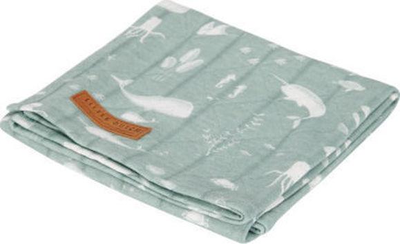 Εικόνα της Little Dutch Κουβέρτα Αγκαλιάς & Λίκνου Ocean 120x120cm Mint