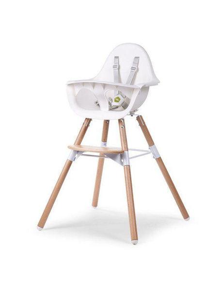 Εικόνα της Κάθισμα Φαγητού Childhome EVOLU 2 Natural - White 2 in 1 & Bumper