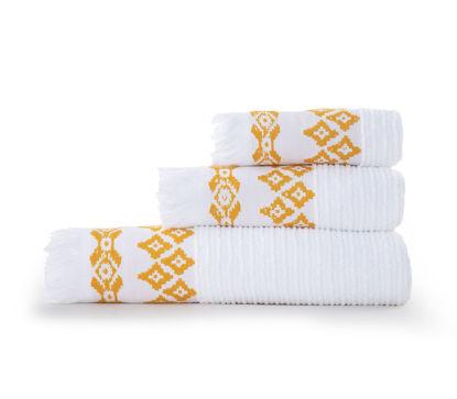 Εικόνα της Σετ πετσέτες 3 τεμάχια Nef Nef Arabi White/Yellow