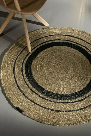 Εικόνα της Guy Laroche Grande Black Natural Χαλί Στρογγυλό με Διάμετρο 150cm