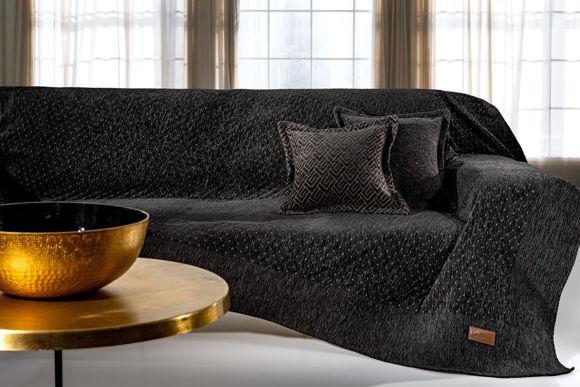 Εικόνα της Guy Laroche Ριχτάρι Τριθέσιου Καναπέ Pouat 180x300cm Black