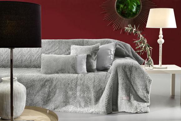Εικόνα της Σετ Ριχτάρι Τριθέσιου και Μαξιλαροθήκη Διακόσμησης Guy Laroche Crusty Silver 170x300